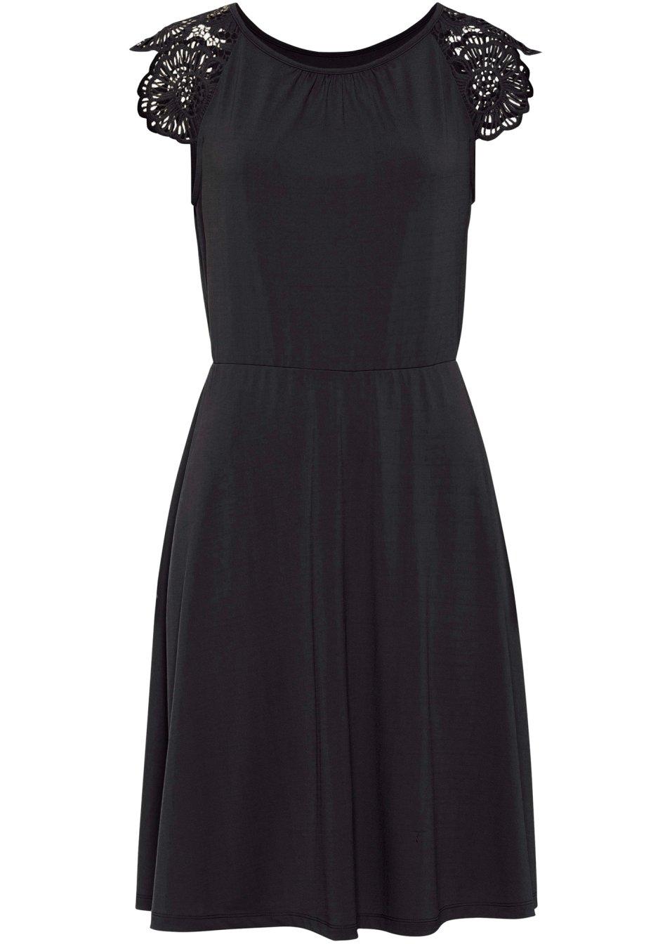 Jerseykleid mit gehäckelten Flügel-Ärmeln - schwarz 2X1Vy S9Bry