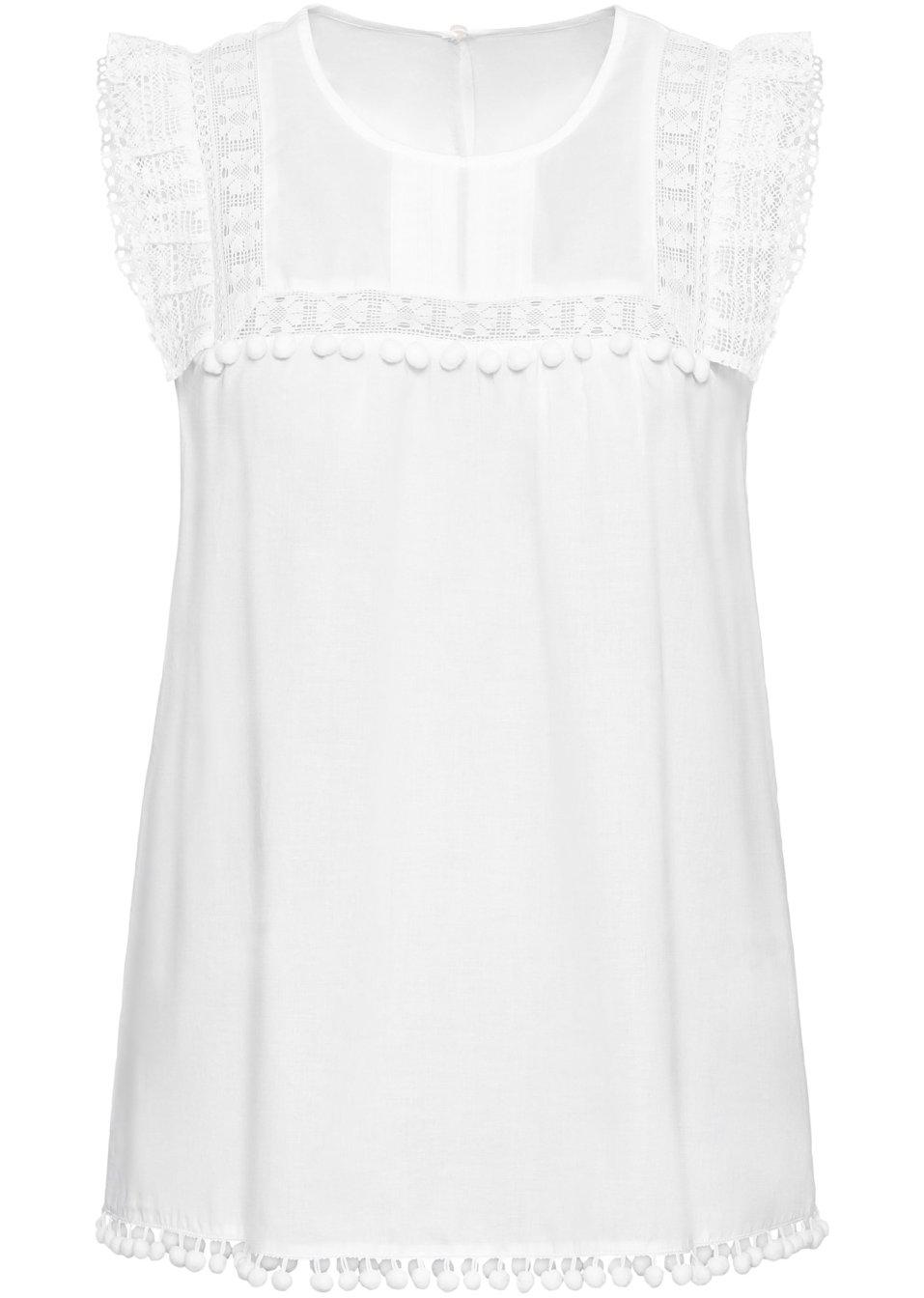 Bluse mit Spitze weiß - Damen - bonprix.de qSCNw fmajC