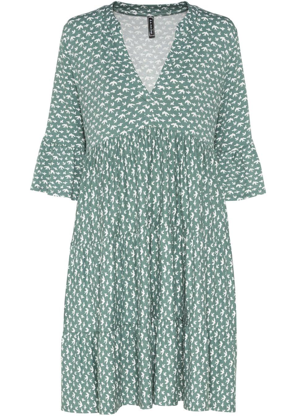gemustertes Kleid mit V-Ausschnitt grün/weiß gemustert - RAINBOW - bonprix.de 3U0JS GGQ85