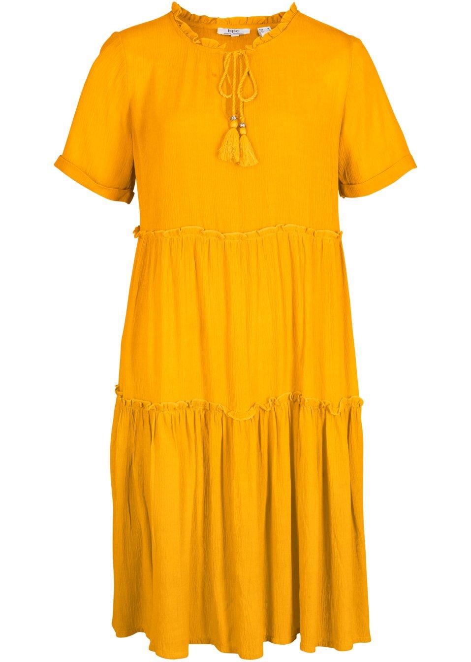 Figurumspielendes Crinkle-Kleid im Kaftan-Look mit Volants - safrangelb R9l3q c0cko