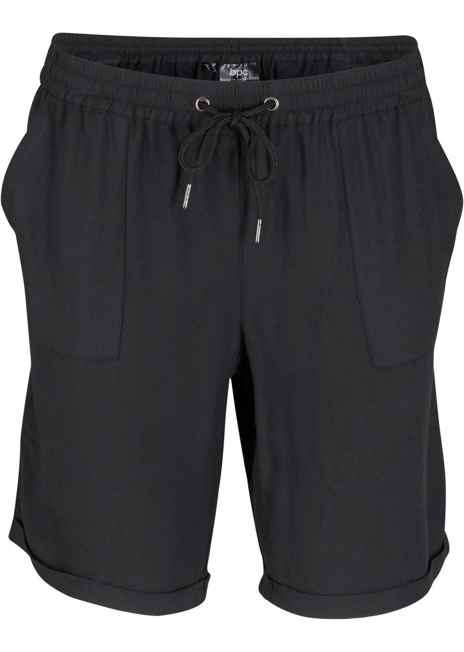 Fließende Shorts aus weicher Viskose mit elastischem Bund - schwarz 0bSNJ ol7f3