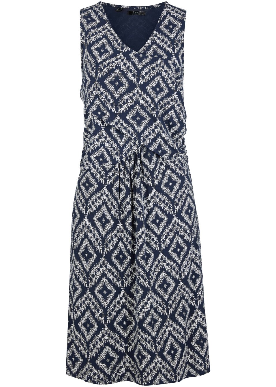 Ärmelloses figurumspielendes Kleid in Wickeloptik mit schönem Print - dunkelblau graphisch bedruckt 0hhzR rRlh5