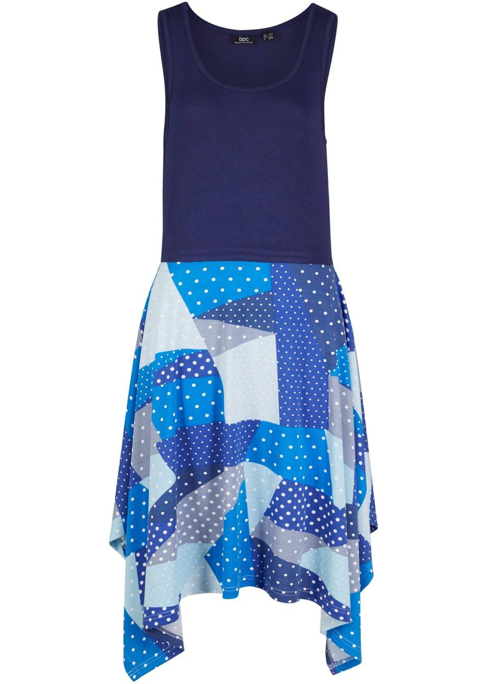 Schönes ärmelloses Jerseykleid mit Zipfelsaumen und aufregendem Patchwork-Muster - mitternachtsblau bedruckt DRCuh vQ4Ld