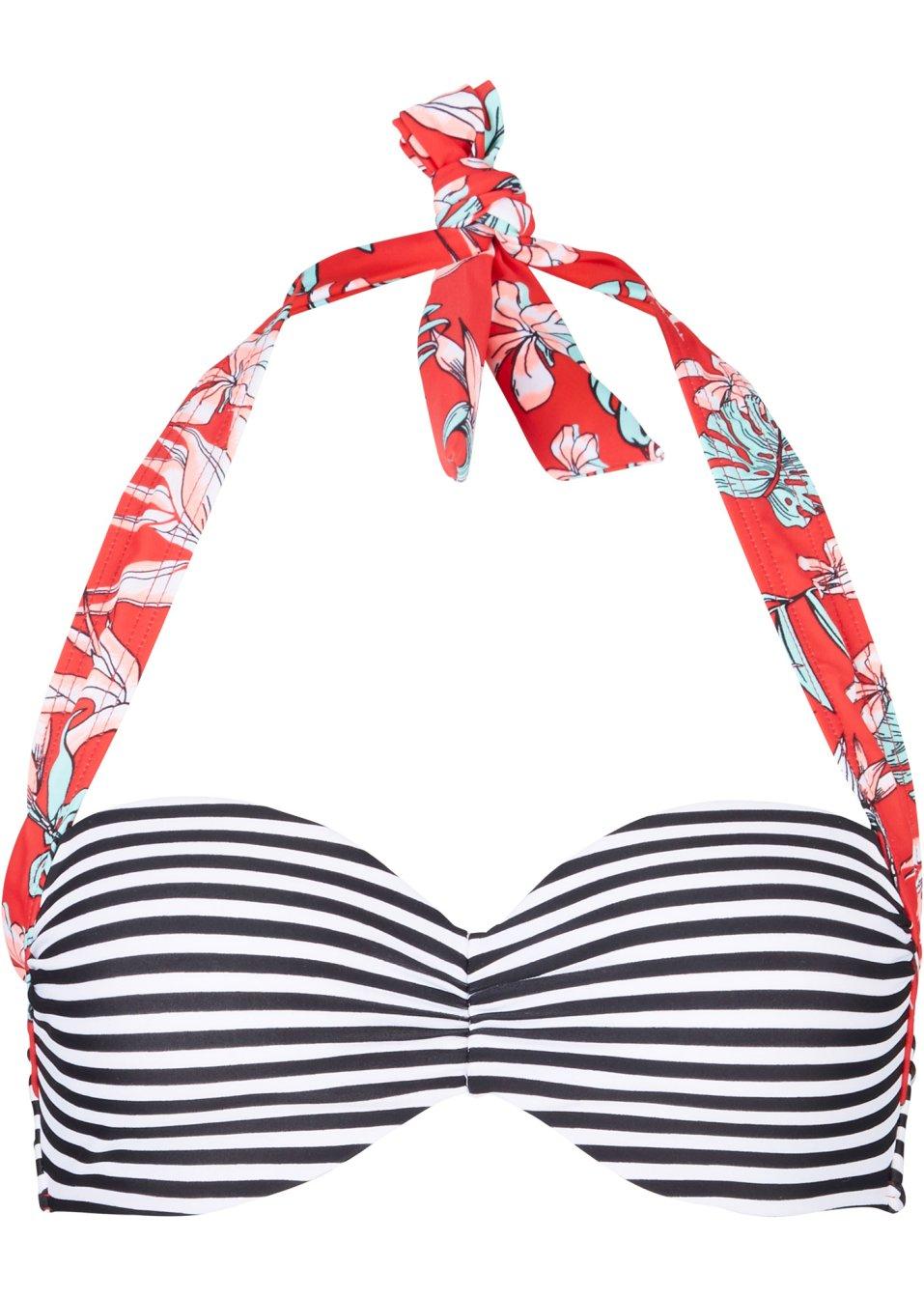 Modisches Bügel Bikini Oberteil mit verdeckten Bügeln - schwarz/weiß gestreift Cup C jCoWH R5RL5
