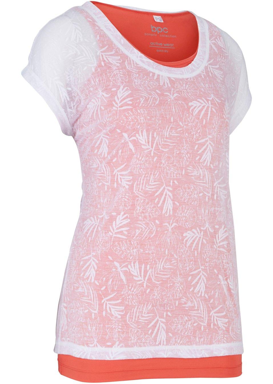 Sommerliches 2 in 1-Sportshirt kurzarm koralle/weiß - Damen - bpc bonprix collection - bonprix.de bkHq4 pBXyw