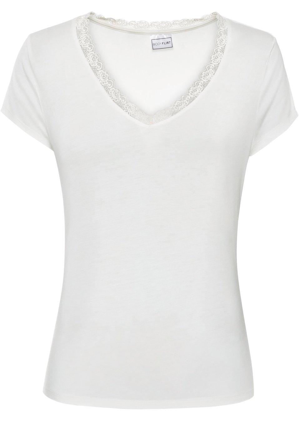 Shirt mit Spitze am V-Ausschnitt - wollweiß 7Iu98 wCeLG