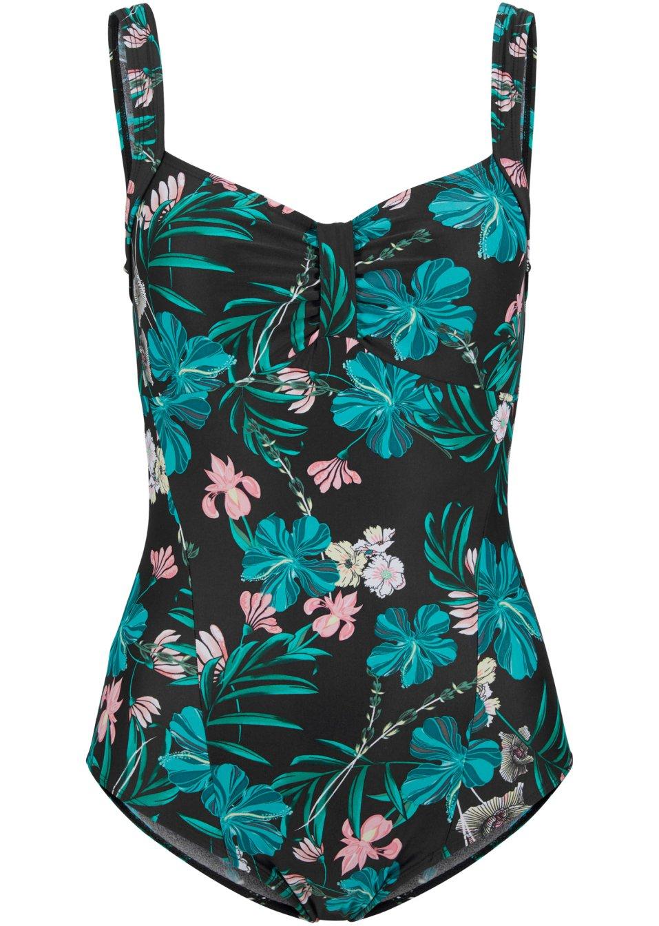 Schöner Shape Badeanzug mit tollem Blumendruck - schwarz/blau bedruckt gwan8 94uyt