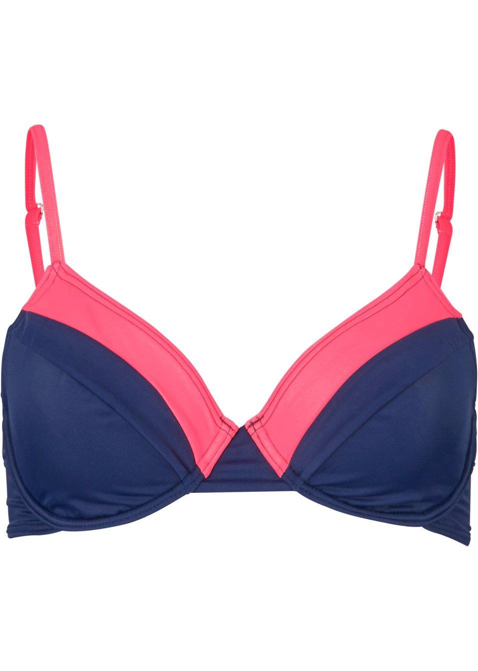 Modisches Bügel Bikini Oberteil mit Klickverschluss - dunkelblau/neonorange Cup B fl5ar qM1CD