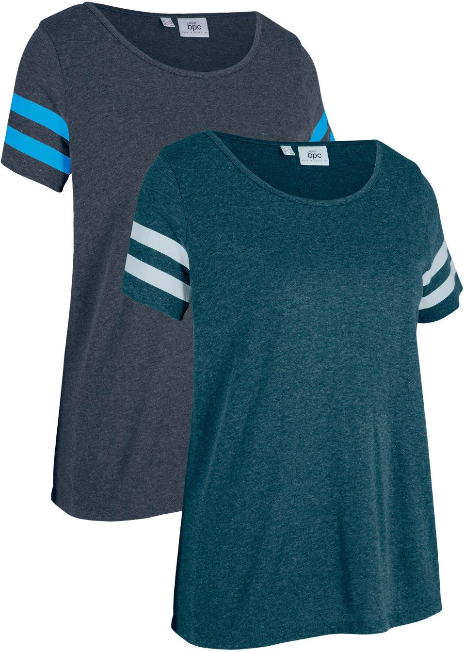 Lässiges Sport-Shirt 2er- Pack kurzarm schwarz/türkis - bpc bonprix collection - bonprix.de opRNo O28W2