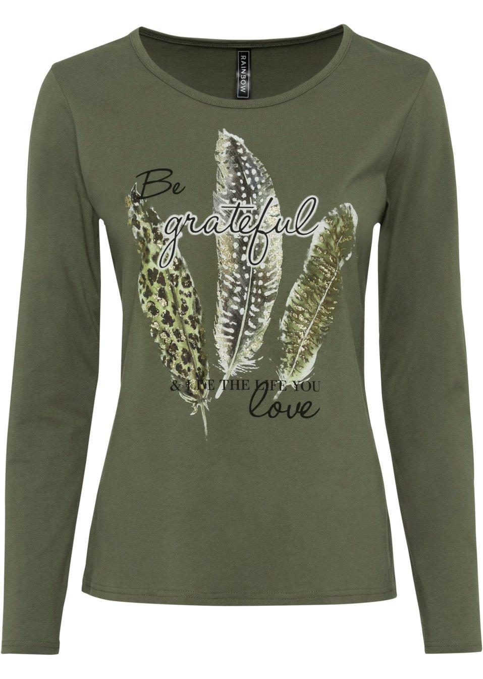 Langarmshirt mit Federdruck oliv bedruckt - Damen - bonprix.de 0AStY HHati