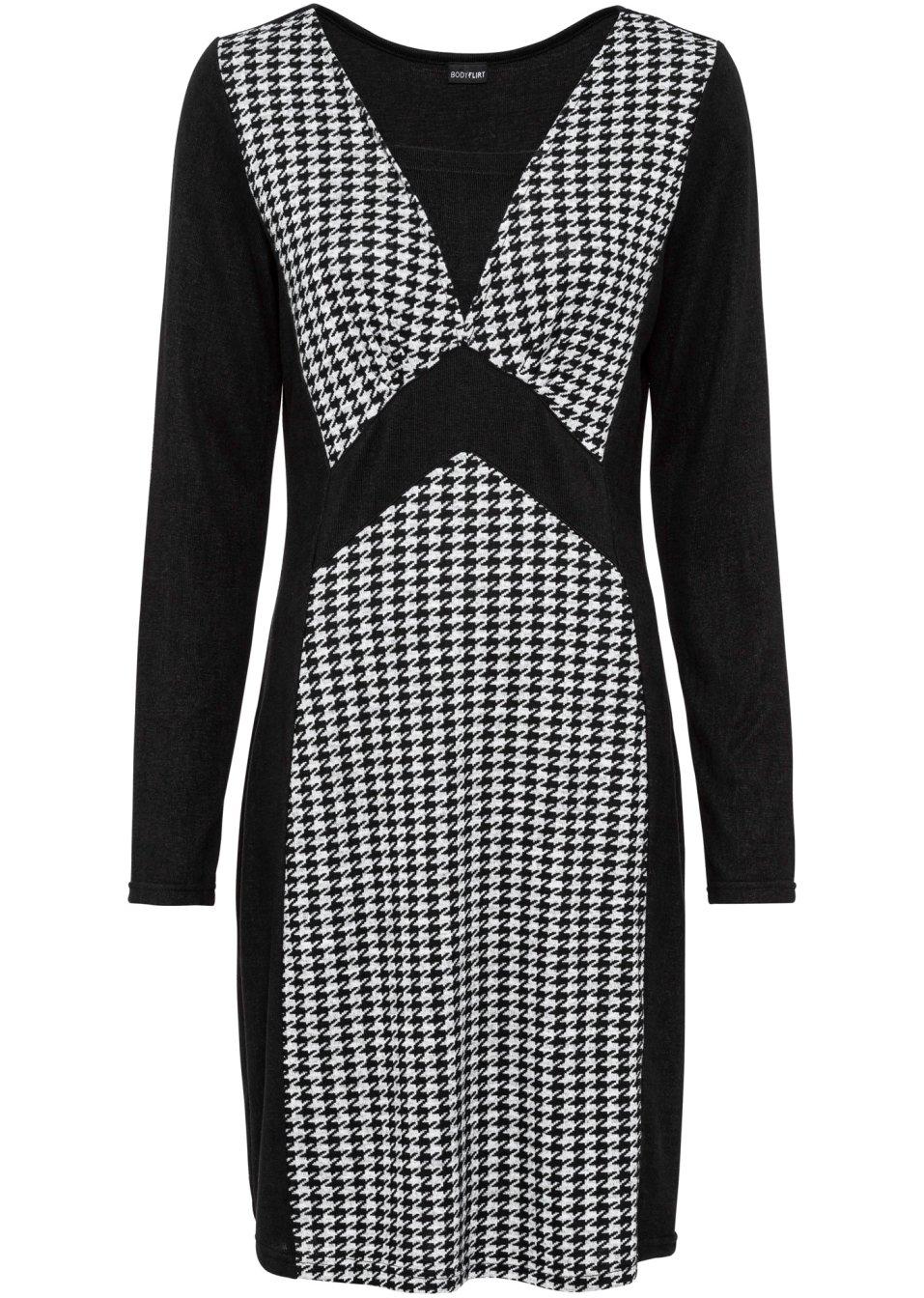 Jerseykleid mit Hahnentritt - schwarz/grau hahnentritt bMIYo 63Fzj