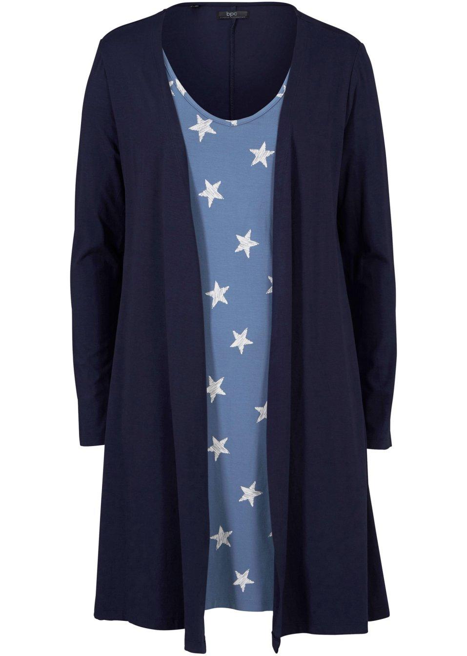 2 in 1 Kleid Langarm dunkelblau/jeansblau/weiß bedruckt - bpc bonprix collection online bestellen - bonprix.de evBsS GdGgi
