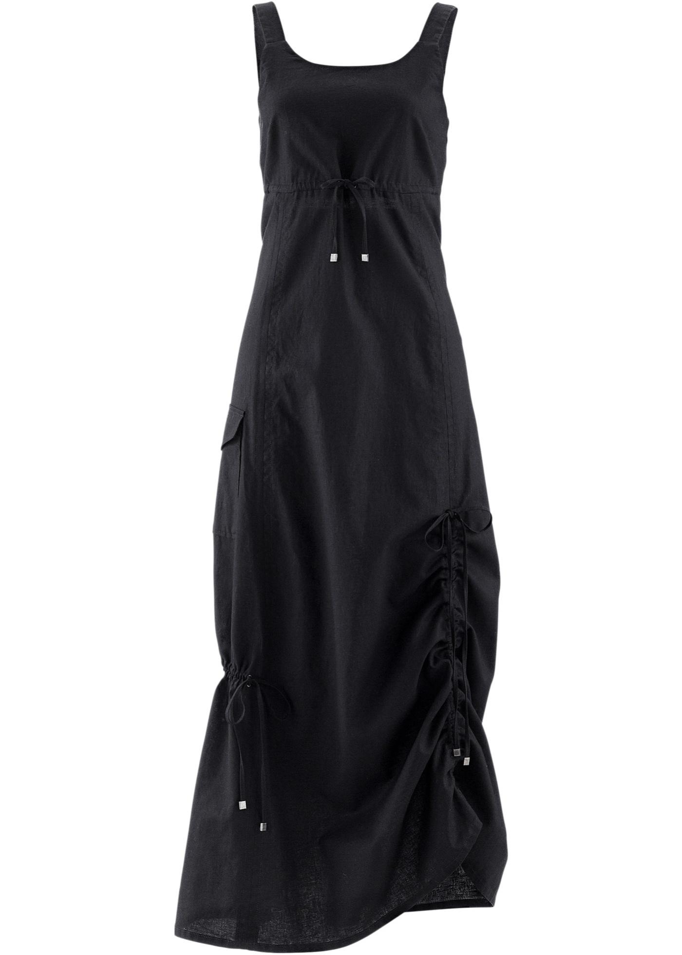 bpc bonprix collection Leinen-Kleid ohne Ärmel  in schwarz von bonprix