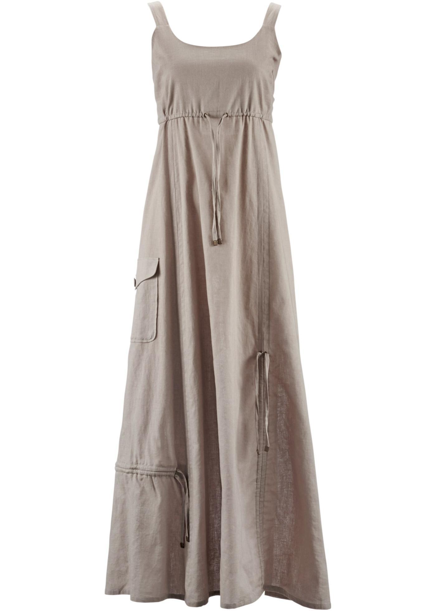 bpc bonprix collection Leinen-Kleid ohne Ärmel  in grau von bonprix