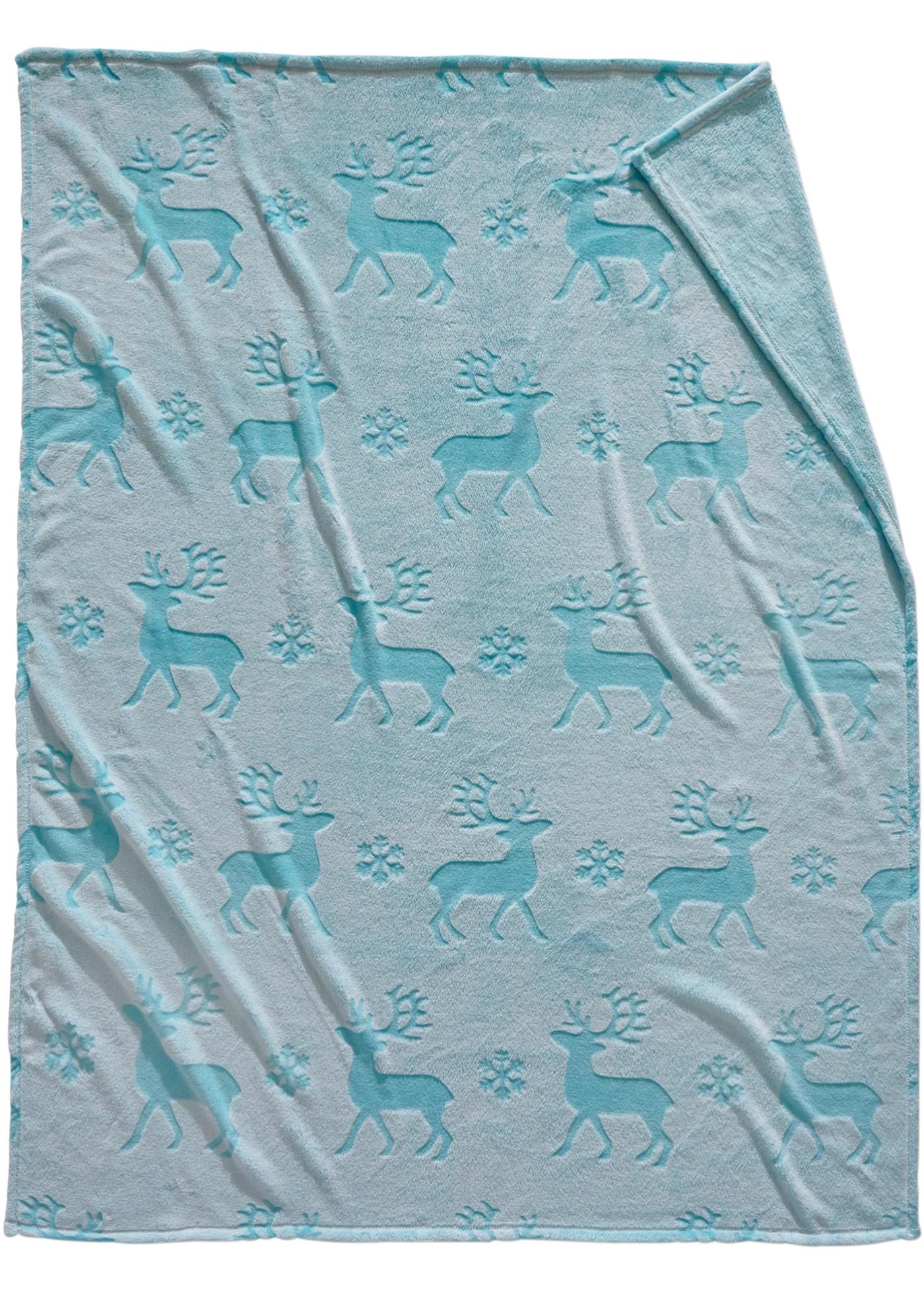 bpc living Kuscheldecke Deer in blau von bonprix Wohnen Heimtextilien Tagesdecken & Plaids