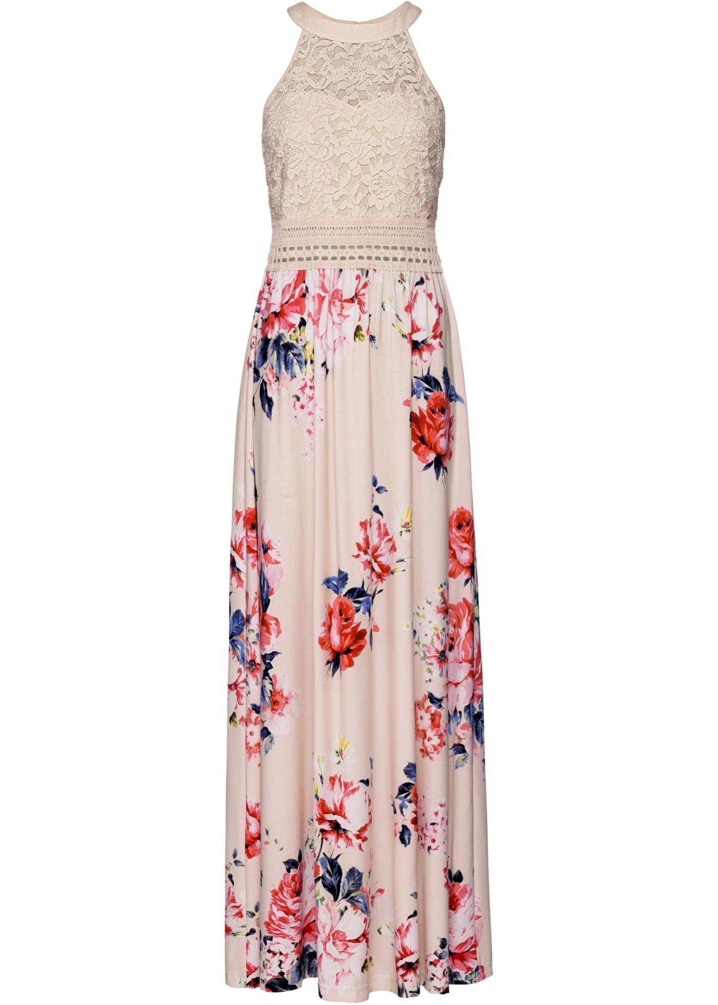 Sommerkleid mit Blumen-Print und Spitze