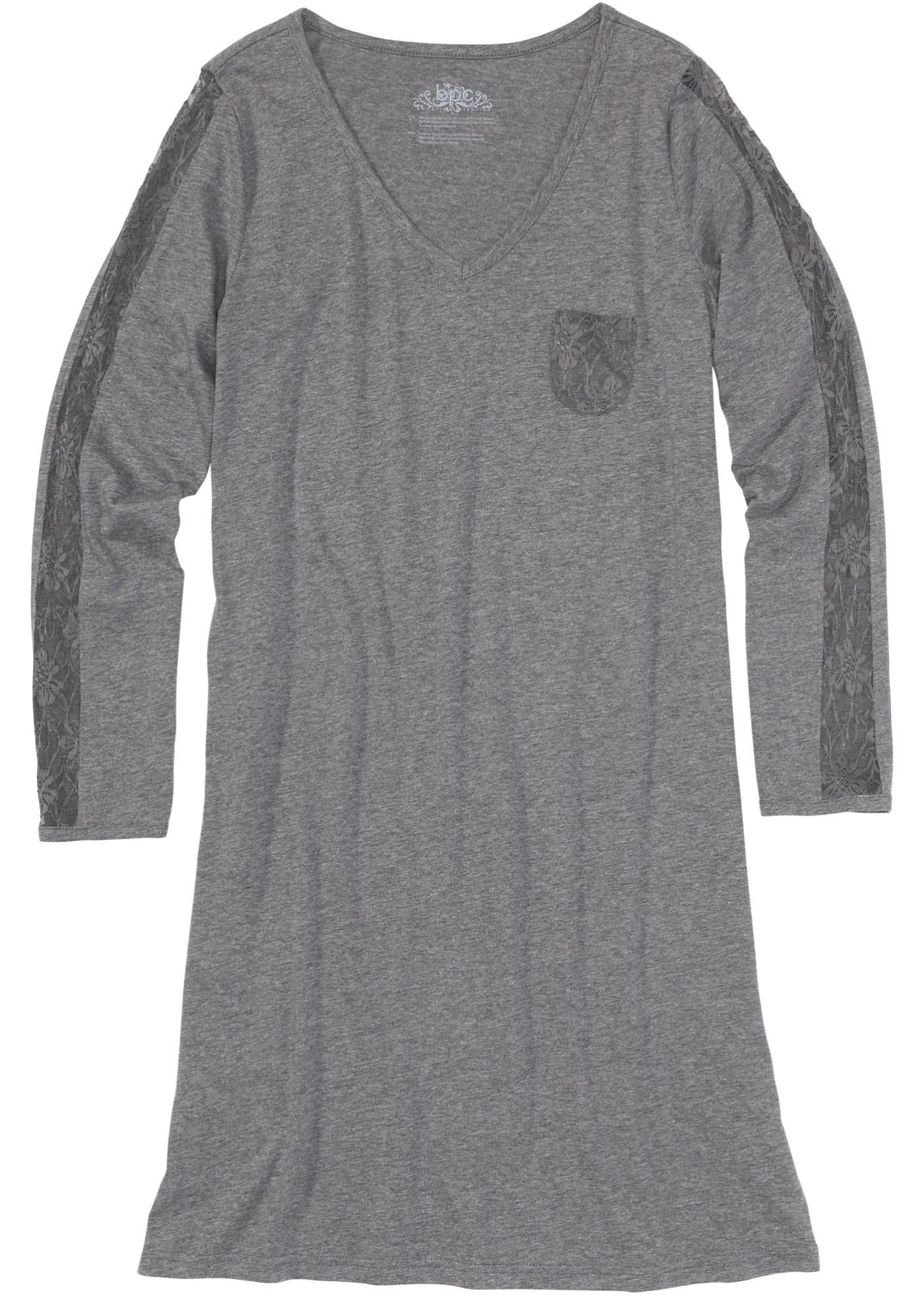 Nachthemd mit Spitze langarm in grau für Damen von bonprix