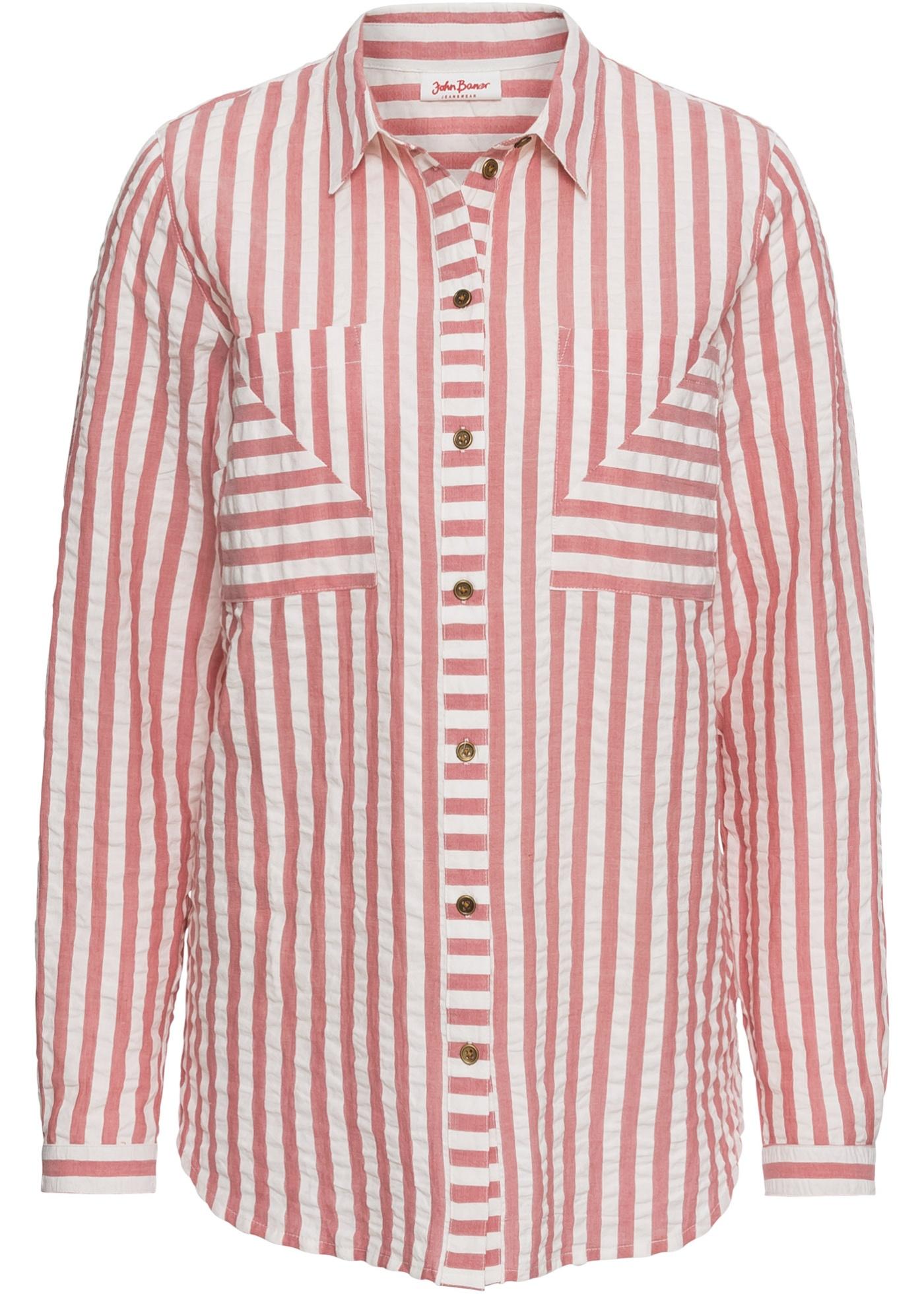 Langarm-Seersucker-Bluse in rosa von bonprix