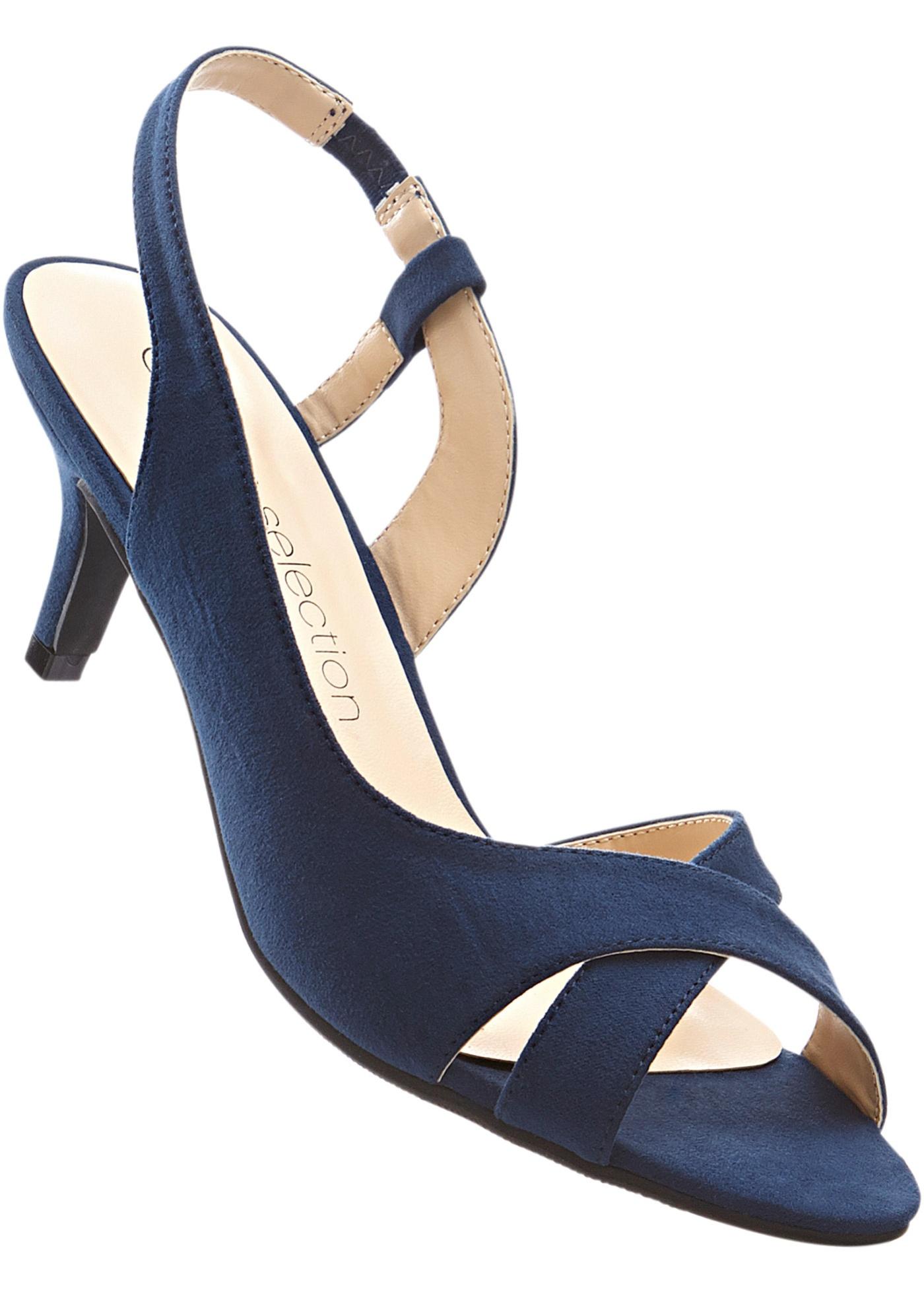 Sandalette mit 6 cm Trichterabsatz in blau von bonprix