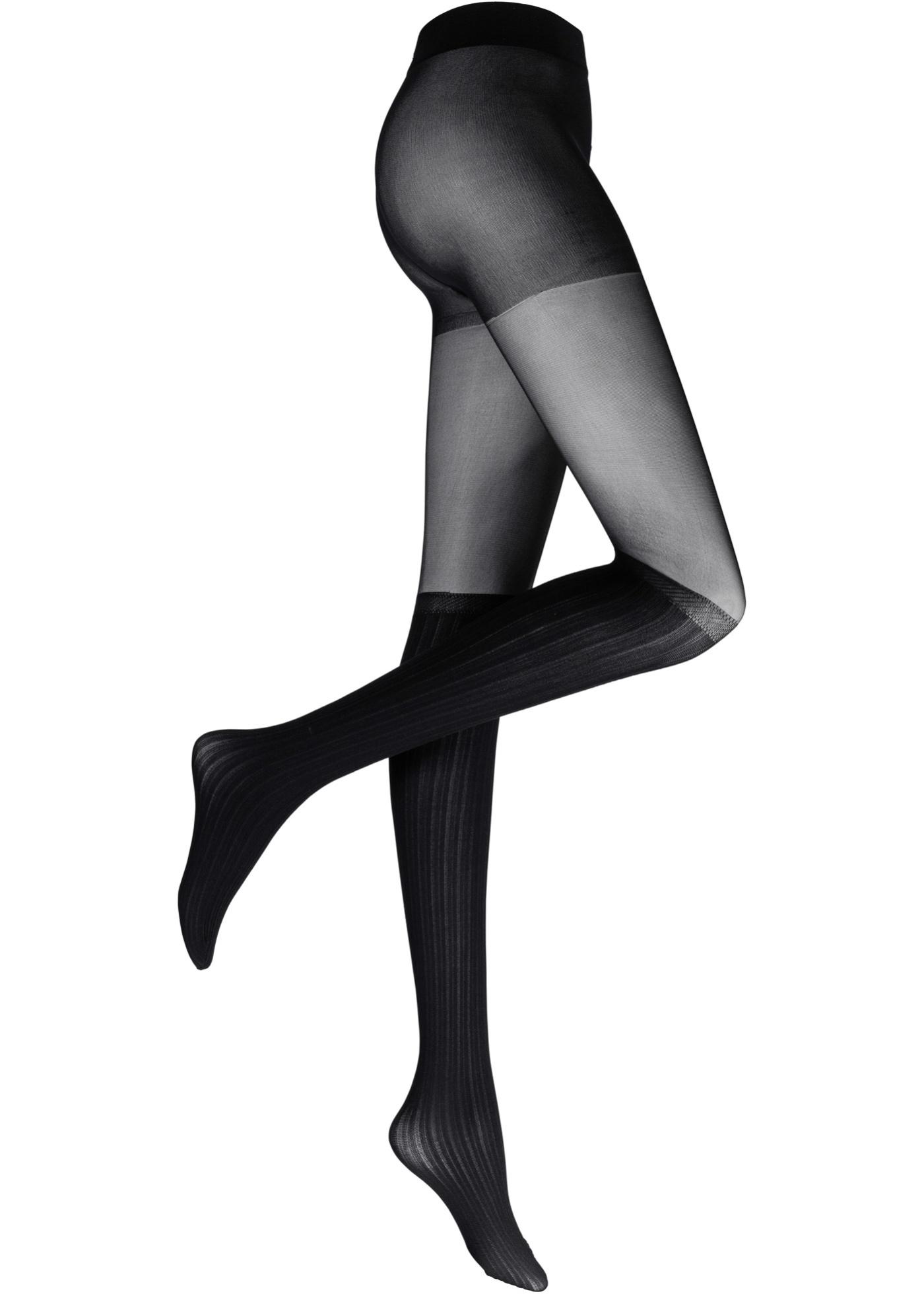 Feinstrumpfhose in Overknee-Optik in schwarz für Damen von bonprix