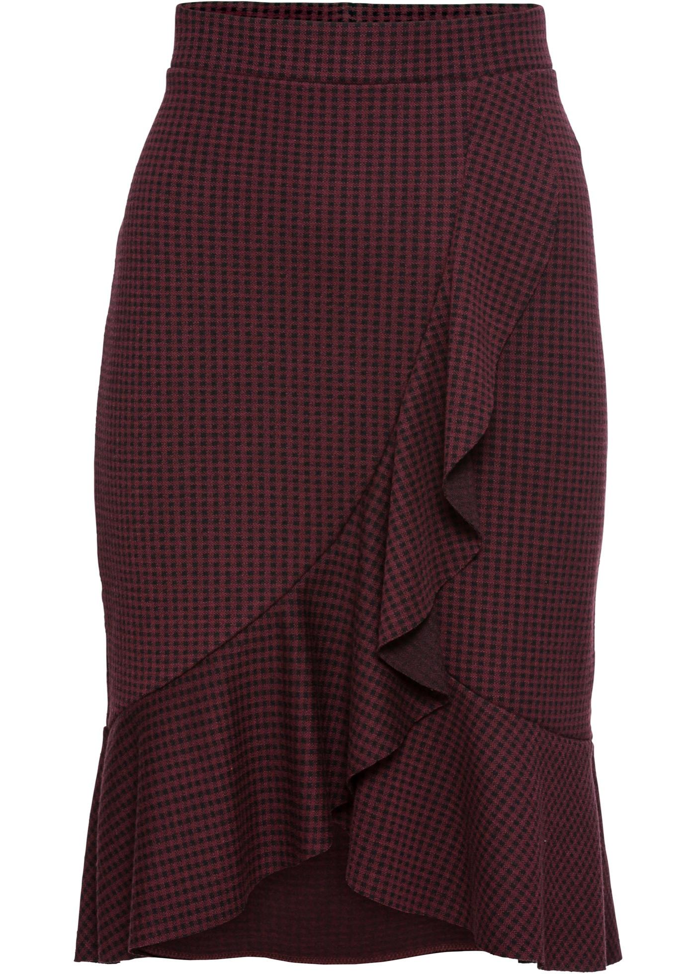 Wickelrock aus elastischem Jacquard in grau für Damen von bonprix