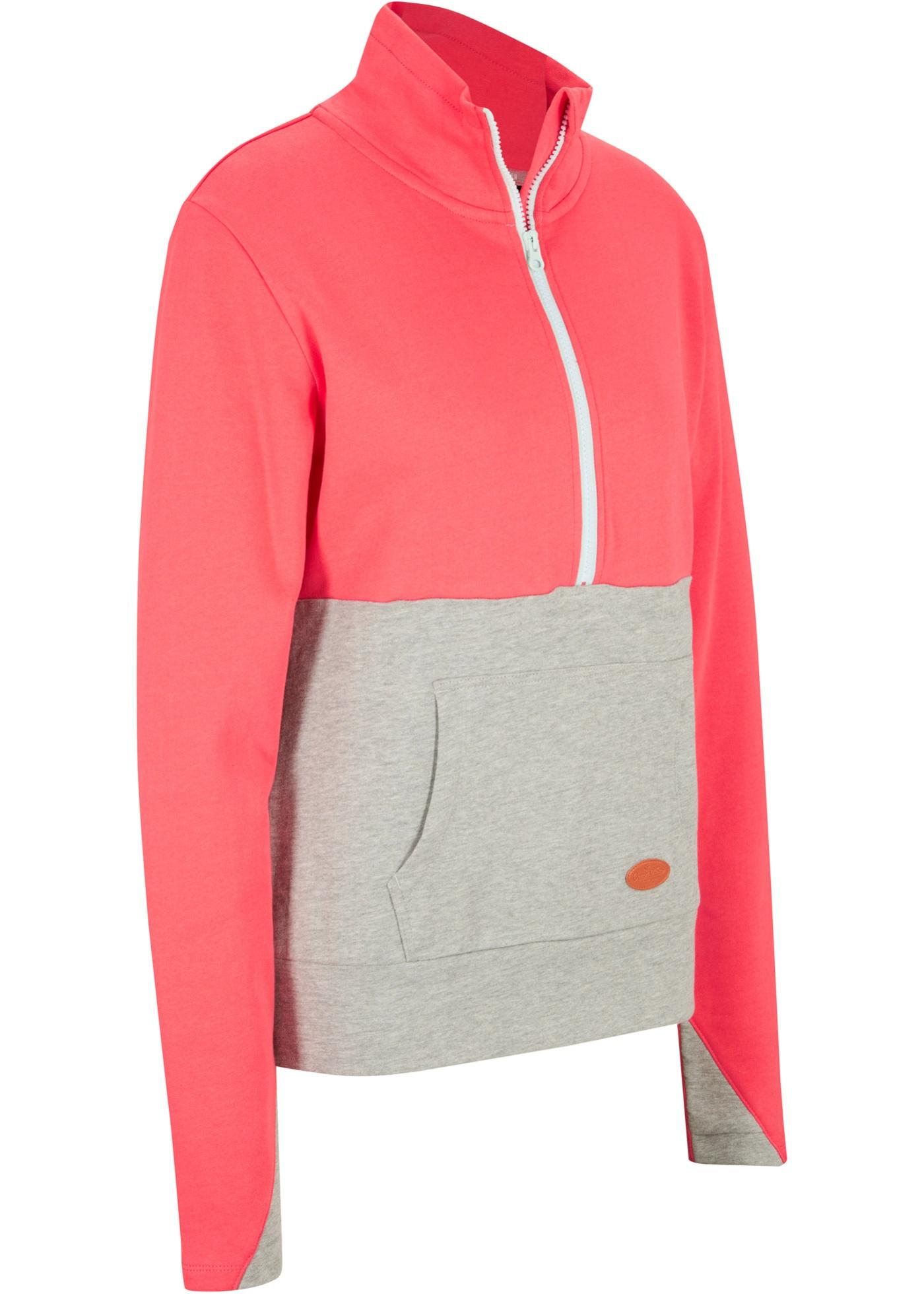 Sweatshirt mit Troyerkragen aus Bio - Baumwolle, langarm
