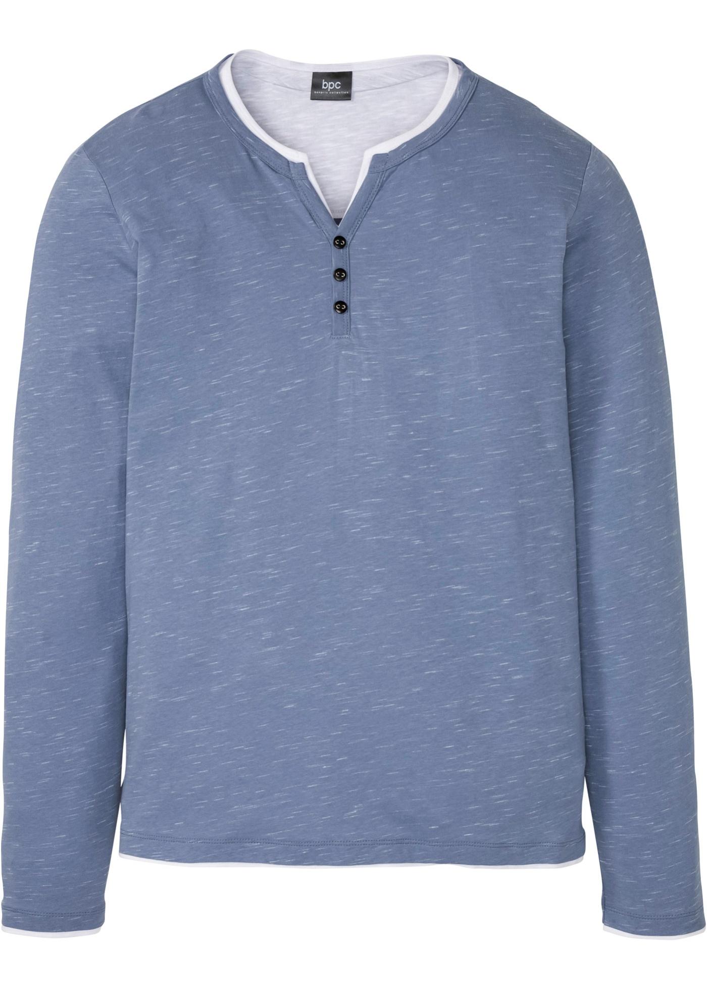 Henleyshirt in 2 in 1-Optik, Langarm