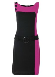 Vestido color blocking com cinto, pink/preto