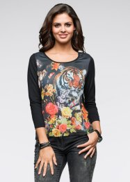 Blusa com estampa frontal e renda