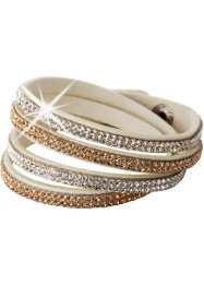 Wickelarmband mit Kristallsteinen, bpc bonprix collection, beige