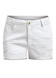 Shorts de sarja destroyed, branco