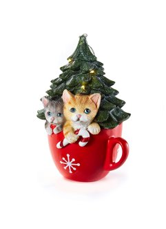 LED-Deko-Objekt Weihnachtsbaum mit Katzen in Tasse, bpc living bonprix collection