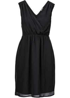 vestido de festa premium preto sem mangas com decote v
