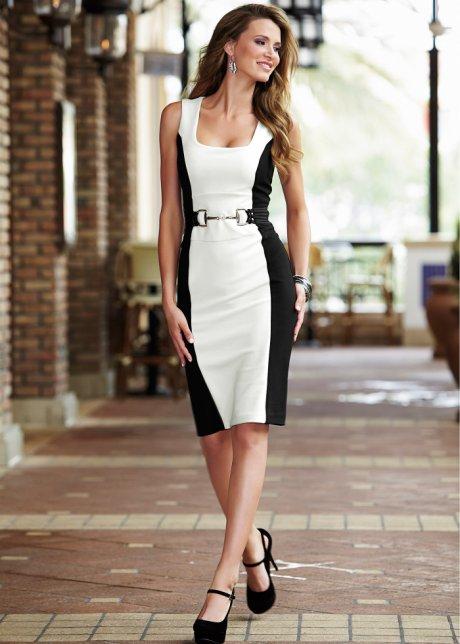 Vestido tubinho com cinto branco