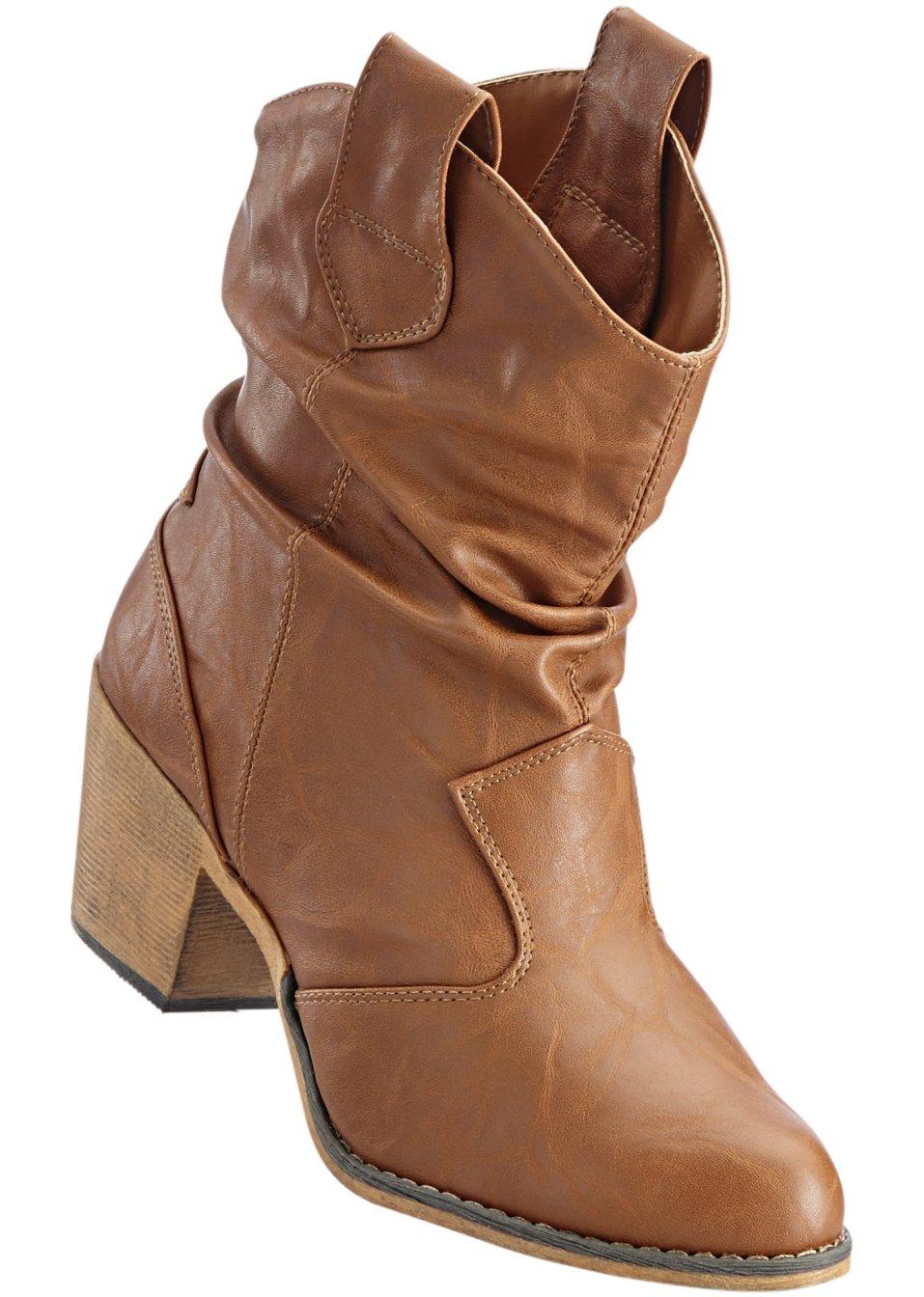 Schwarz Cowboy Stiefel Kunstleder Block-Absatz Größe 37 M596Y1z8