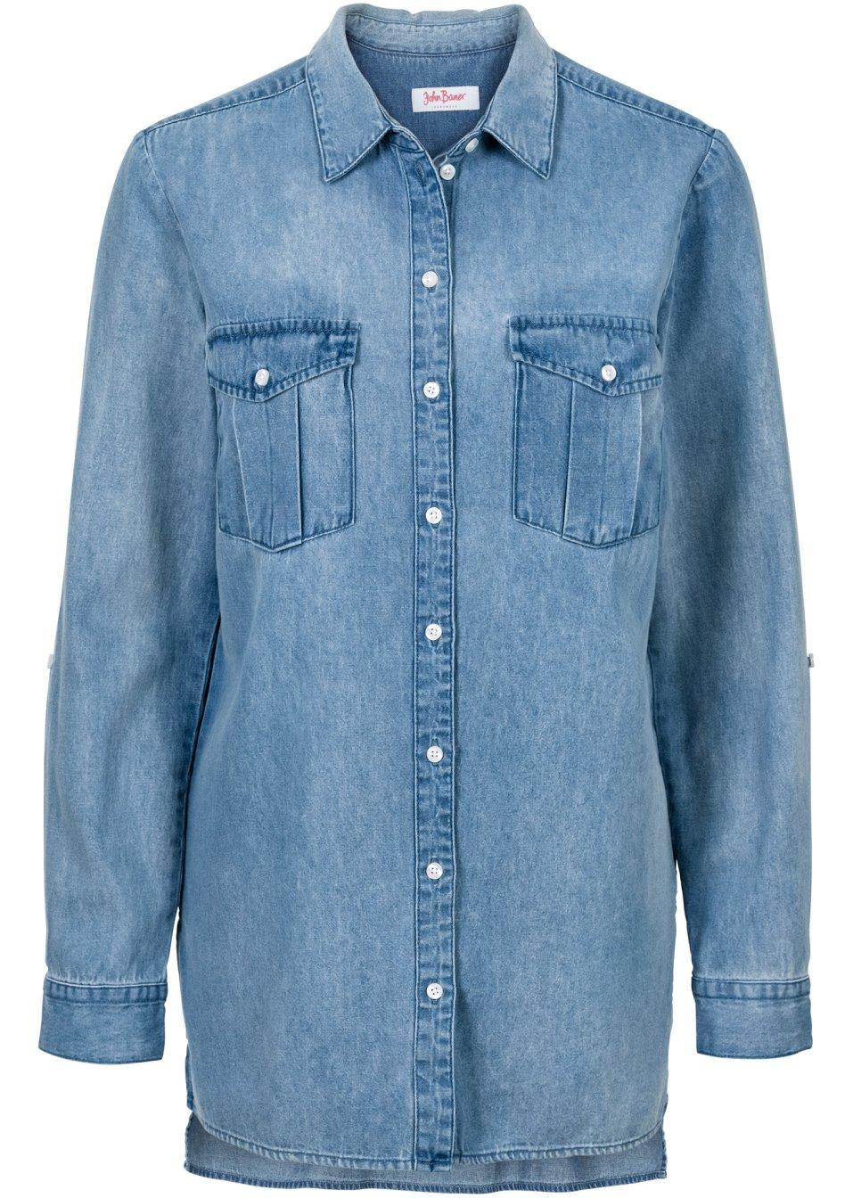 L ssiges hemd mit brusttaschen hellblau - Jeanshemd damen lang ...