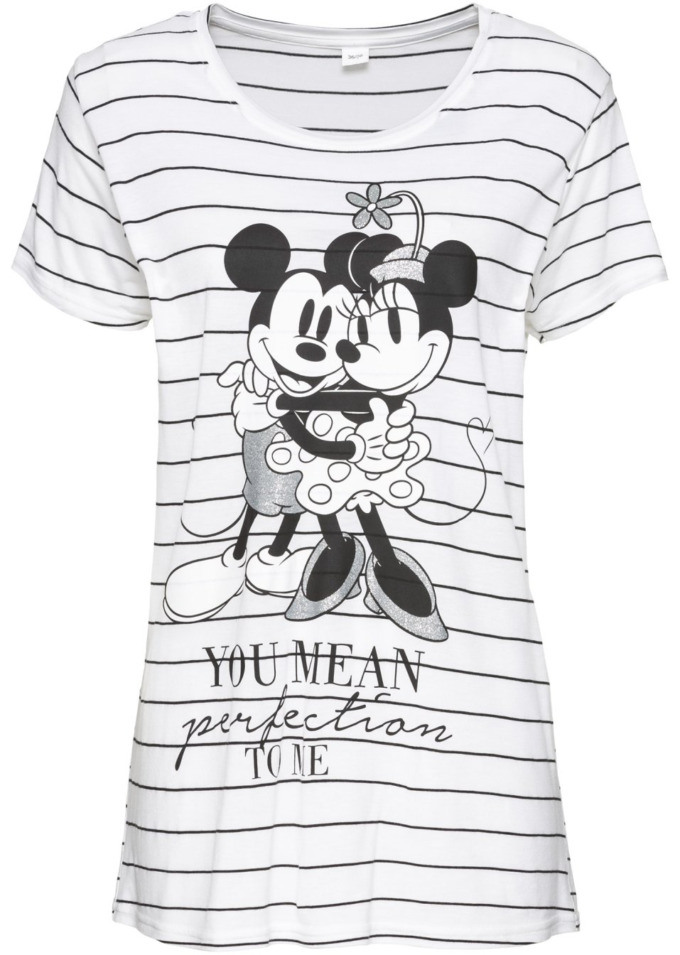 trendstarkes shirt in streifenoptik mit mickey mouse print wei schwarz gestreift. Black Bedroom Furniture Sets. Home Design Ideas