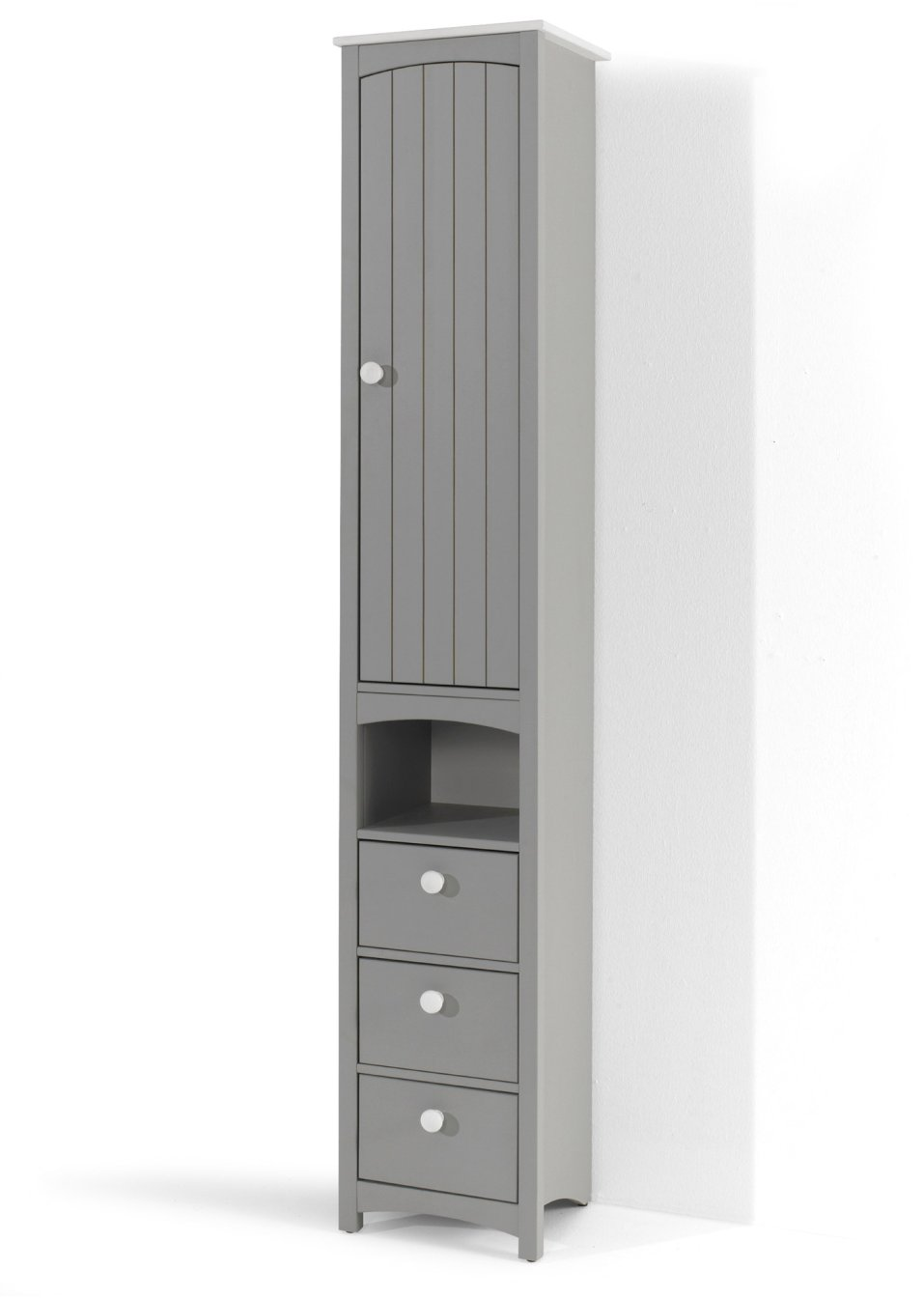 platzsparender schmaler badezimmer hochschrank paula grau schmal. Black Bedroom Furniture Sets. Home Design Ideas