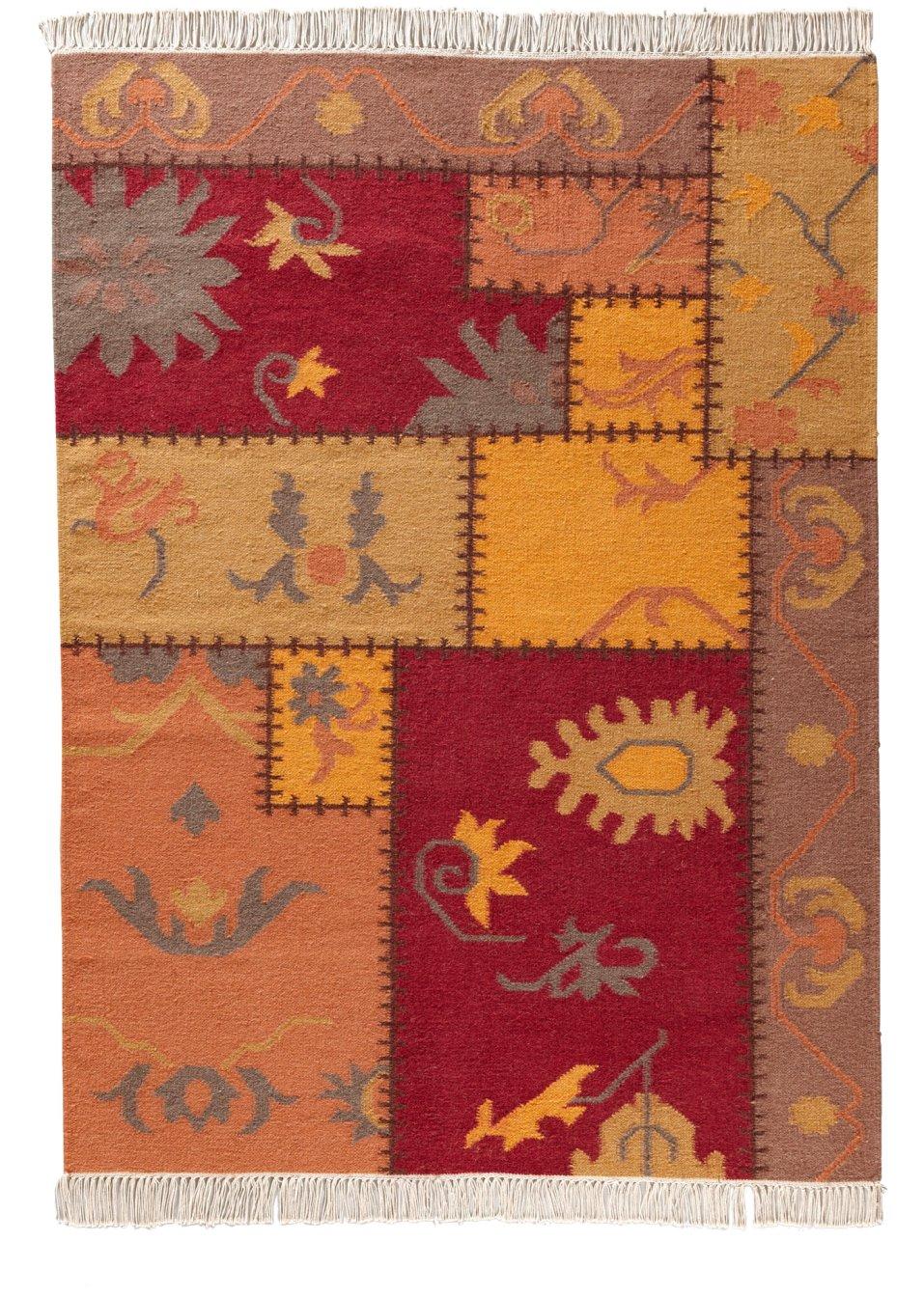 wohnlicher kelim teppich sandra in patchworkoptik terra. Black Bedroom Furniture Sets. Home Design Ideas