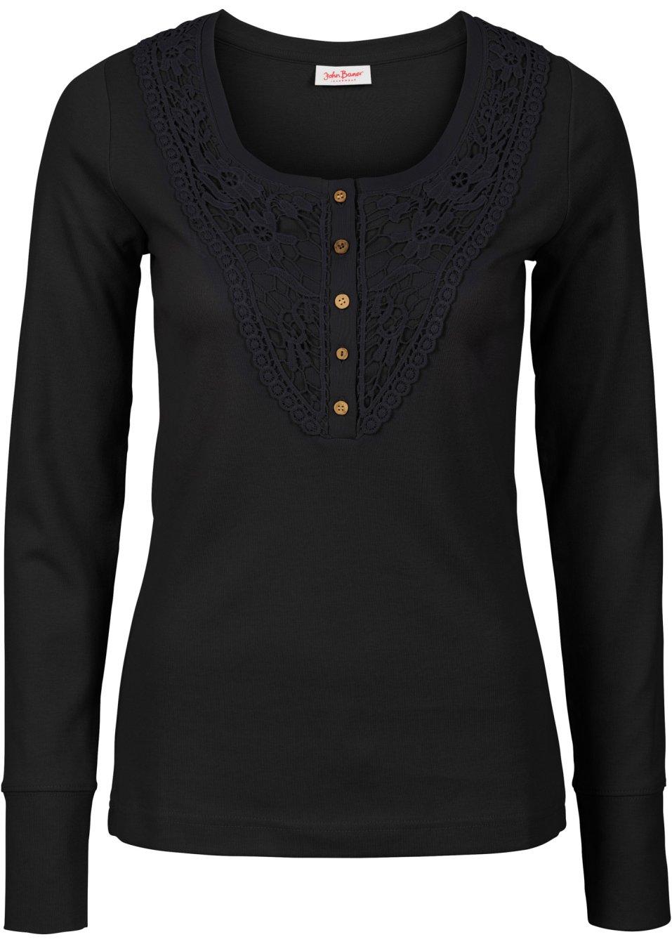 modisches langarmshirt mit spitze und rundem ausschnitt. Black Bedroom Furniture Sets. Home Design Ideas