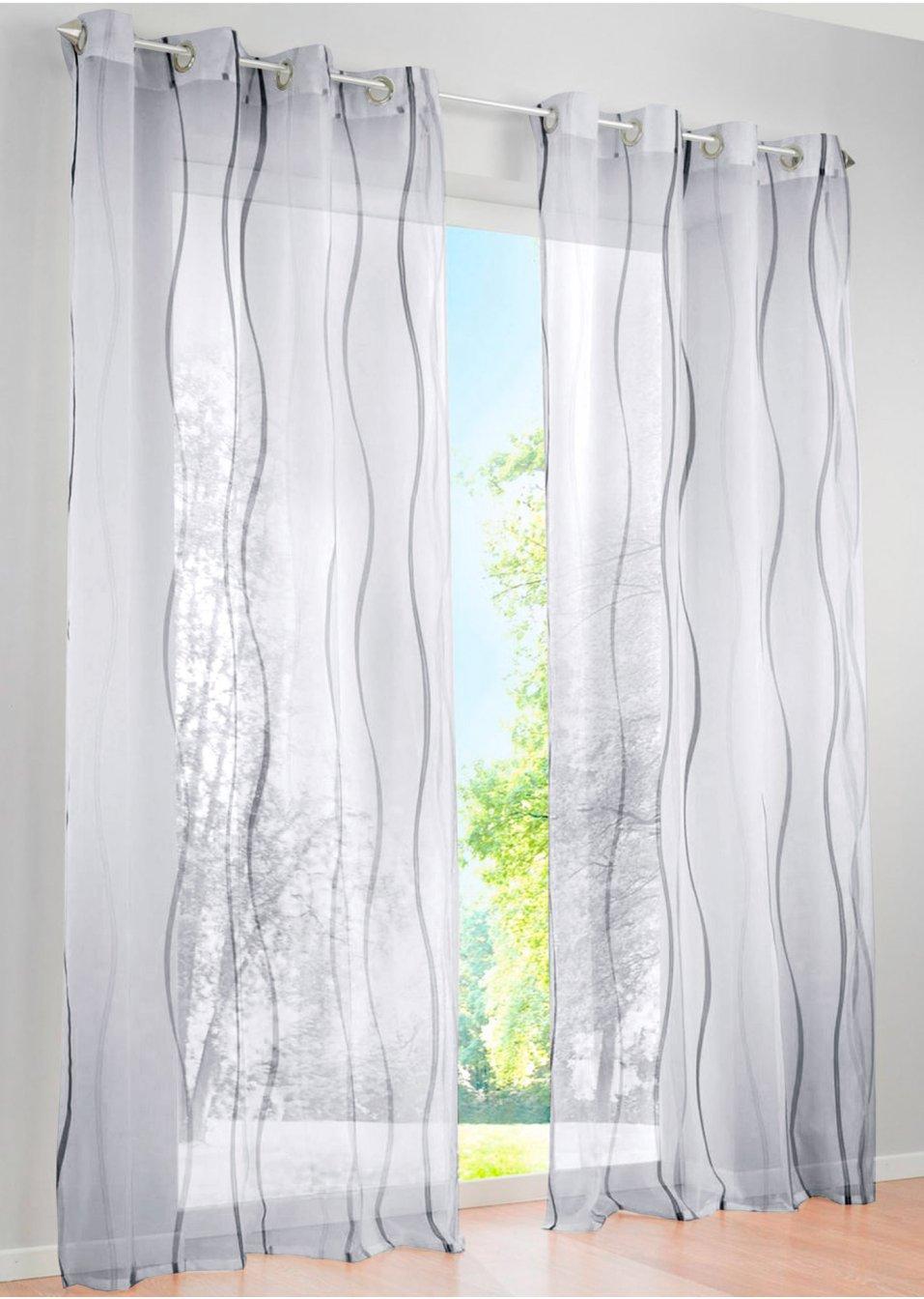 luftig leichte gardine vienna in transparenter optik wei silber sen 1er pack. Black Bedroom Furniture Sets. Home Design Ideas