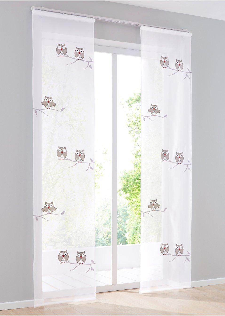 schiebegardine diego 1er pack klettschiene wei grau wohnen. Black Bedroom Furniture Sets. Home Design Ideas