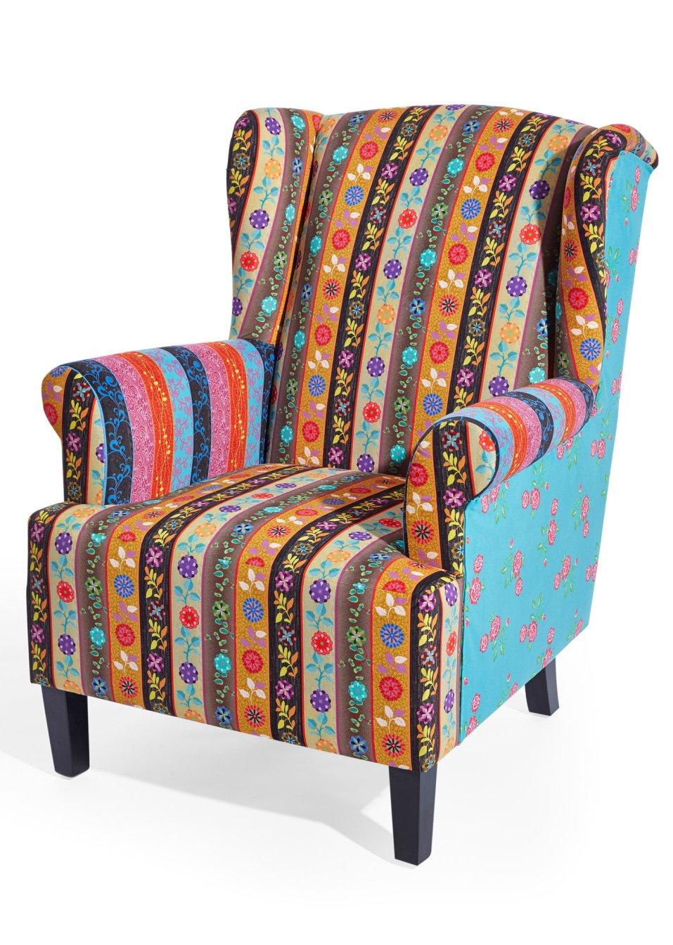 ein schmuckst ck f r das wohnzimmer der farbenfrohe ohrensessel aladdin bunt. Black Bedroom Furniture Sets. Home Design Ideas