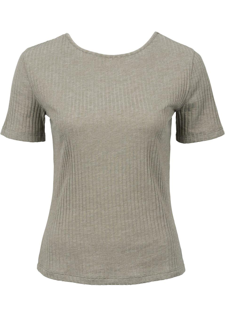 angesagtes ripp shirt mit ausgefallenem r ckenausschnitt new khaki meliert. Black Bedroom Furniture Sets. Home Design Ideas