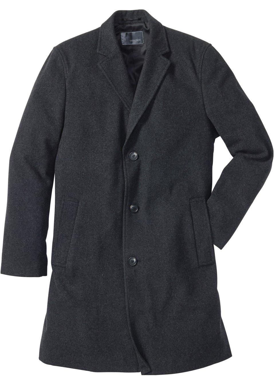 eleganter herren kurz mantel mit reverskragen anthrazit. Black Bedroom Furniture Sets. Home Design Ideas