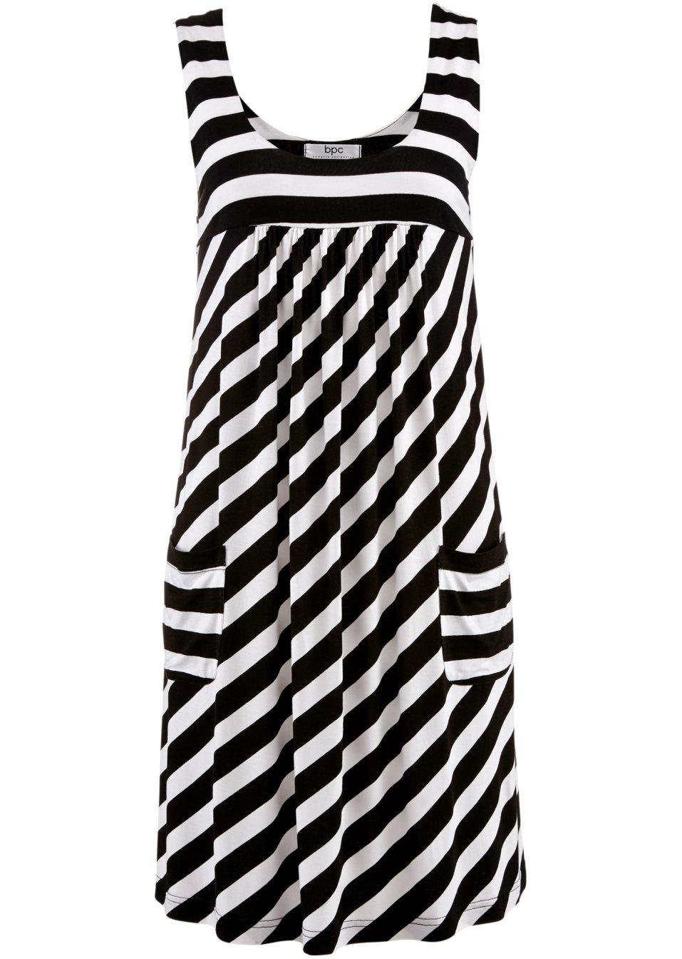 luftiges jersey stretch kleid mit aufgesetzten taschen schwarz wei gestreift. Black Bedroom Furniture Sets. Home Design Ideas