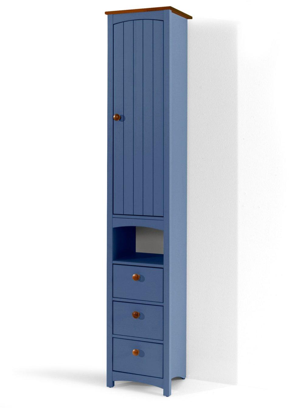 platzsparender schmaler badezimmer hochschrank paula blau schmal. Black Bedroom Furniture Sets. Home Design Ideas