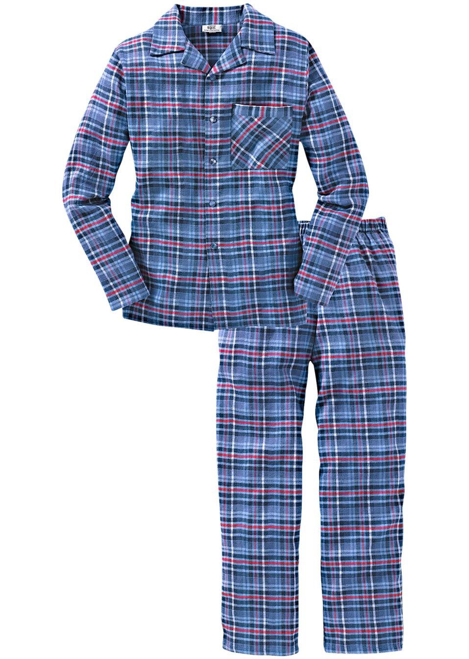 komfortabel und modisch herren flanell pyjama in webqualit t blau kariert. Black Bedroom Furniture Sets. Home Design Ideas
