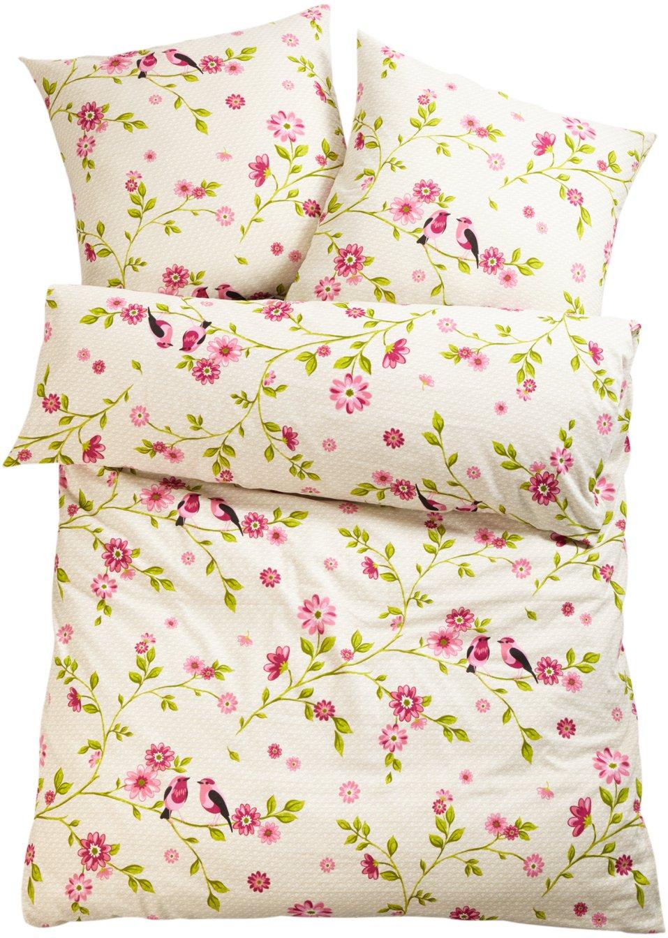 mit verspieltem blumenmuster die bettw sche emilia rosa linon. Black Bedroom Furniture Sets. Home Design Ideas