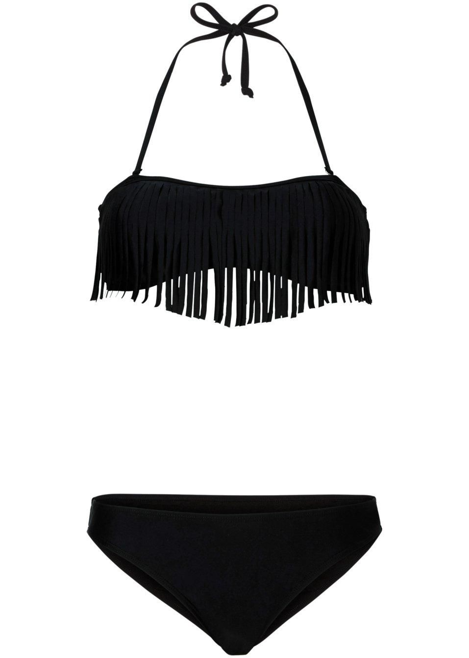 femininer bikini mit fransen detail schwarz. Black Bedroom Furniture Sets. Home Design Ideas